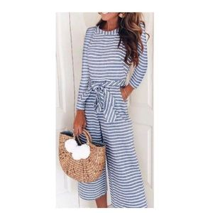Pants - NWOT XL blue and white striped jumpsuit